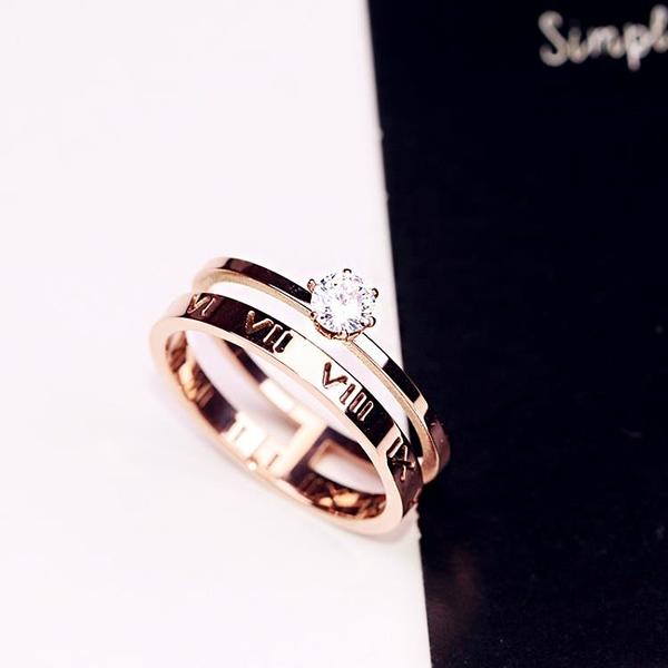 鈦鋼鍍18K玫瑰金羅馬數字人造鋯石戒指指環女保色戒子食指戒1入