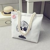 韓版女單肩帆布包手提大容量ins環保簡約學生文藝小清新購物袋子