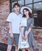 同色系情侶裝夏裝套裝2019新款韓版潮流短袖T恤男QLZ夏季連衣裙女洛麗的雜貨鋪