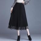 網紗裙 黑色百褶裙女春半身裙中長款高腰兩面穿網紗裙雙面a字蕾絲裙子【快速出貨八折鉅惠】