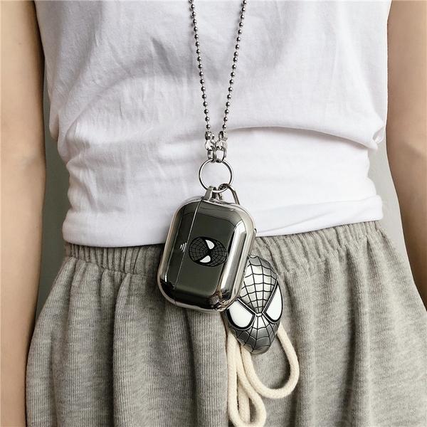 Airpods Pro 專用 1/2代 台灣發貨 [ 電鍍黑色蜘蛛人+掛鈎+項鍊 ] 藍芽耳機保護套 蘋果無線耳機保護