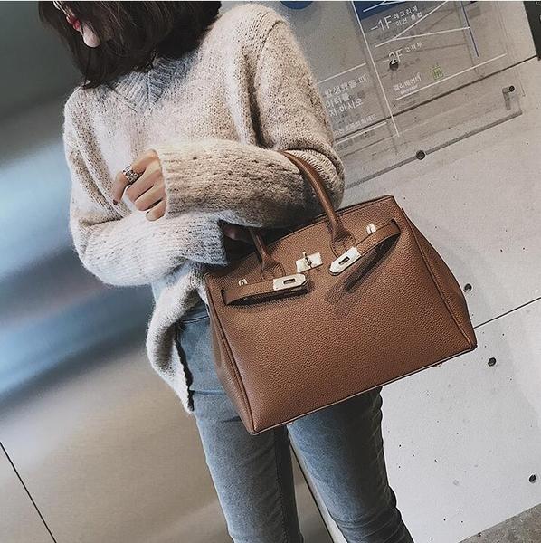 側背包大包包女新款潮韓版復古手提包百搭休閒側背包單肩鉑金包