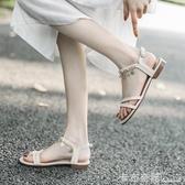 涼鞋女平底夏季新款時裝百搭仙女風ins潮搭裙子的帶鑚羅馬鞋 雙十一全館免運
