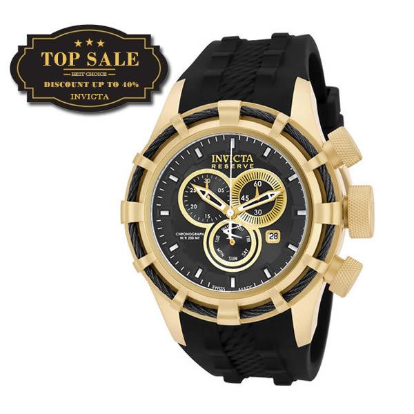 【INVICTA】繩索系列 - 三眼計時腕錶 - 黑金繩索