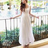 SISI【D5087】雅典浪漫 高腰百褶雪紡無袖長裙洋裝 高腰蛋糕層次連身裙