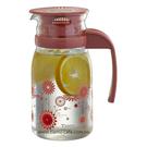 金時代書香咖啡   TIAMO 805玻璃涼水壺 800ml(花草紅) 通過SGS檢測  HG2105