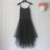 秋冬不規則網紗吊帶裙女內搭蕾絲打底洋裝百褶蓬蓬背心長裙