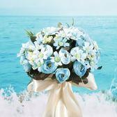森系韓式新娘手捧花花球仿真鮮花束結婚婚禮布置用品擺件婚紗攝影 【PINK Q】