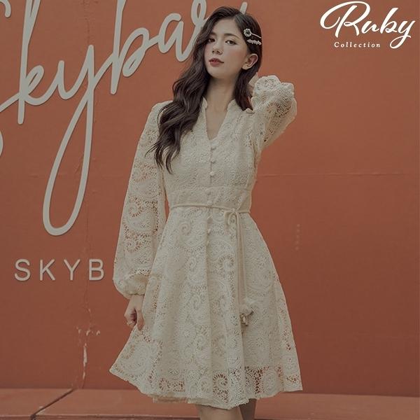 洋裝 RCha。V領刺繡鏤空短版長袖洋裝-Ruby s 露比午茶