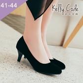 大尺碼女鞋-凱莉密碼-氣質名媛修飾腿型小尖頭絨面工作鞋低跟鞋4cm(41-44)【YN901】黑色