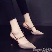 高跟涼鞋 2021夏季新款韓版網紅尖頭高跟鞋女細跟一字扣涼鞋仙女風百搭女鞋  新品