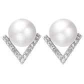 925純銀耳環-珍珠鋯石V型明星同款母親節生日情人節禮物女耳釘73zw34【時尚巴黎】