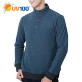 UV100 防曬 抗UV 保暖刷毛質輕率性立領上衣-男