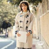 毛呢外套 牛角扣女中長款韓版秋冬學生小個子學院風日系風衣