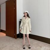 氣質西裝領小香風長袖洋裝冬新款秋裝收腰顯瘦A字短裙子女 深藏blue