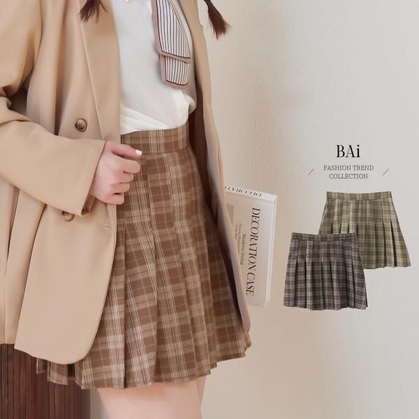 虛線格紋拉鍊百摺褲裙M-L號-BAi白媽媽【311066】