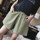 棉麻褲 棉麻短褲女夏季高腰外穿闊腿褲寬鬆...