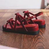 楔型鞋 女式涼鞋女韓版平底羅馬鞋綁帶涼鞋學生夏季小碼坡跟女鞋 唯伊時尚
