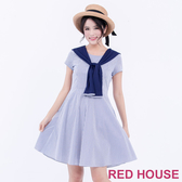 【RED HOUSE 蕾赫斯】假兩件條紋洋裝(海洋藍)