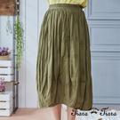 【UFUFU GIRL】壓摺紋結合民俗風剪裁設計,鬆緊腰x純棉舒適好著!