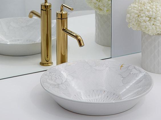 【麗室衛浴】美國 KOHLER Empress Bouquet系列 夏宮時尚面盆 上崁盆 K-14223T-SMC-0