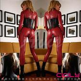情人節  性感睡衣專賣店 虐戀精品CICILY-魔形女 塗膠仿皮性感彈力連體緊身衣紅