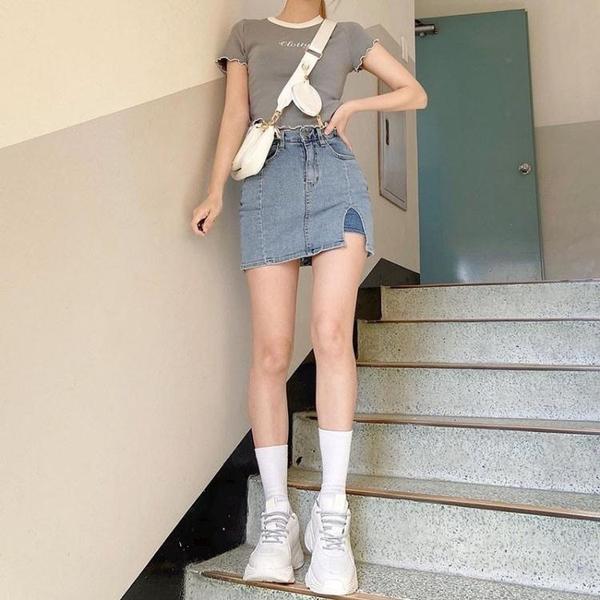 FUNOFF 韓版chic小個子A字裙半身裙新款帶內襯牛仔包臀短裙女學生 夢幻小鎮「快速出貨」