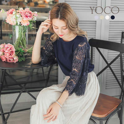 東京著衣【YOCO】恬美優雅多色睫毛蕾絲拼接針織上衣-S.M.L(171609)
