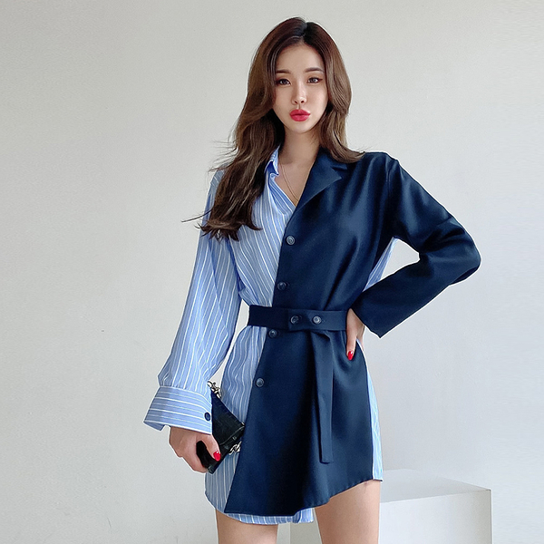 VK旗艦店 韓系時尚OL氣質簡約襯衫拼接豎條紋長袖洋裝