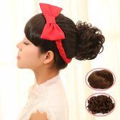 包包頭韓系假髮髮包 直髮花苞頭丸子頭包包頭 捲髮髮包盤髮新娘假髮