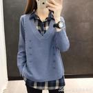 拼接上衣秋冬季新款很仙的毛衣襯衫領假兩件韓版寬鬆針織打底衫上衣 快速出貨