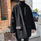 毛呢風衣韓版潮男寬鬆純黑色中長款毛呢大衣秋冬新款加厚ins呢子風衣外套 新年禮物