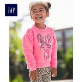 Gap女嬰幼童 妙趣圖案長袖圓領休閒上衣 497324-淺色粉