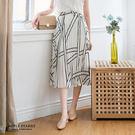 線條紋百褶雪紡長裙-2色 蘋果星沙