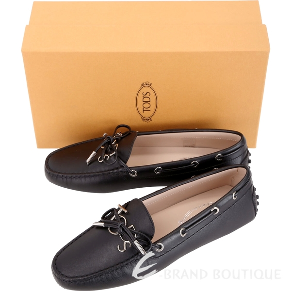 TOD'S Gommino 新版字母防刮牛皮休閒豆豆鞋(女鞋/黑色) 1840083-01