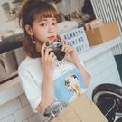 MUMU【T11585】英字雜誌圖片短袖T恤