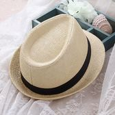 馬草帽子 男士英倫禮帽舞台演出帽爵士草帽遮陽發型帽【快速出貨】