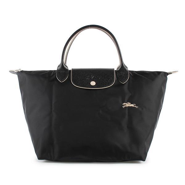 Longchamp Le Pliage刺繡LOGO短提把中型尼龍摺疊水餃包(黑色)480207