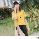 《AB10324》台灣製造.不修邊口袋貓咪字母刺繡高棉T恤/上衣 OrangeBear