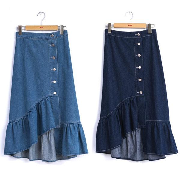 春夏7折[H2O]不對稱下襬波浪設計水洗牛仔長裙 - 深藍/淺藍色 #9682001