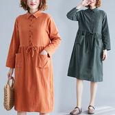 棉麻 日系襯衫領縮腰洋裝 獨具衣格