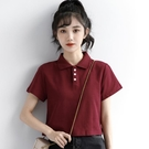 短袖POLO衫 2021夏季新款紅色翻領短袖t恤女酒紅高腰露臍短款上衣學生polo衫