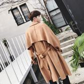 秋冬韓國復古ulzzang紳士大衣韓版中長款寬鬆收腰風衣青年外套男