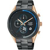 ALBA雅柏 Tokyo Design 情人限定原創計時手錶-黑X玫瑰金