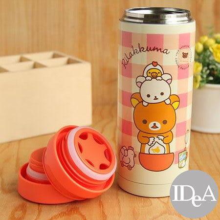 日本 San-X 拉拉熊 真空保溫杯 附泡茶濾蓋 保溫保冷保冰 350ML 隨行杯 太空杯 輕鬆熊 懶懶熊 煎蛋