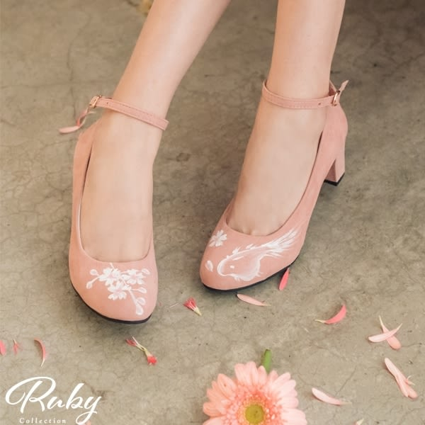 鞋子 手繪櫻花繫踝麂皮粗跟鞋-Ruby s 露比午茶
