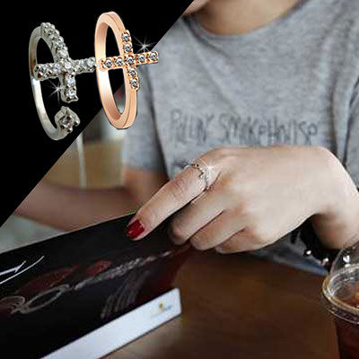 戒指 韓劇同款鑲鑽十字架戒指【O2493】☆雙兒網☆