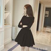 秋冬洋裝女加絨赫本復古小黑裙韓版黑色長袖打底a字裙 千千女鞋
