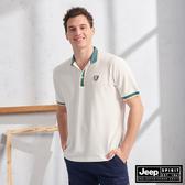 【JEEP】簡約運動風休閒短袖POLO衫(白)