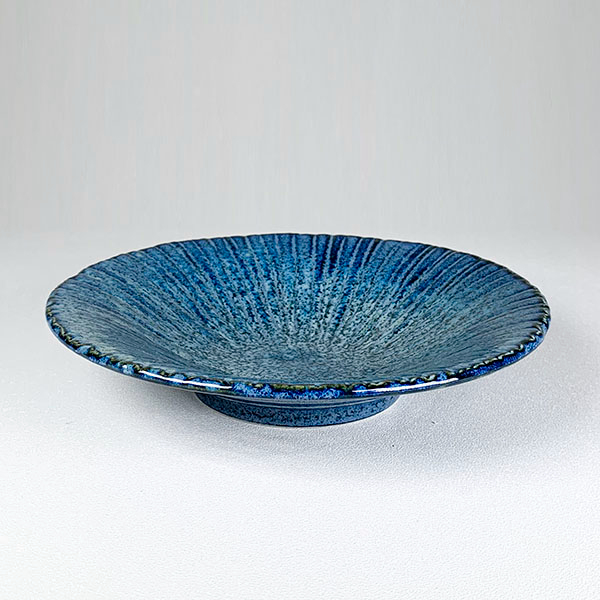 日本陶瓷 花紺十草 中缽-20cm 餐盤 餐碟 餐碗 陶盤 陶